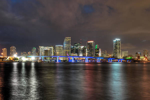Photograph - Miami Skyline At Night by Mark Whitt