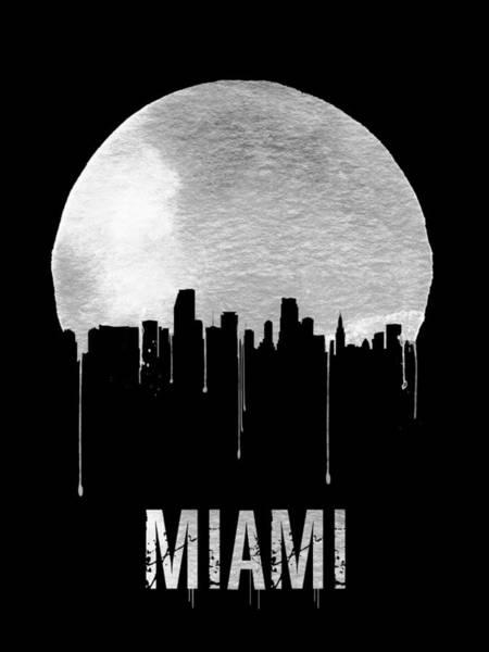 Florida Painting - Miami Skyline Black by Naxart Studio