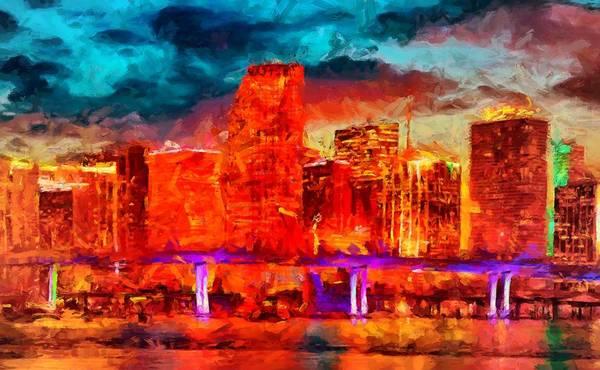 Digital Art - Miami Skyline by Caito Junqueira