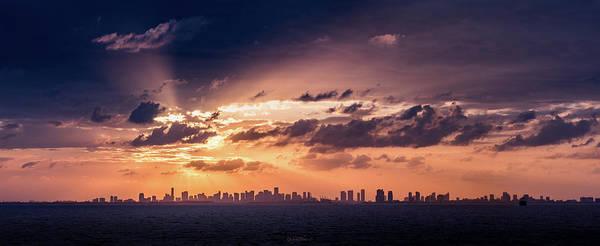 Miami Sunset Pano Art Print