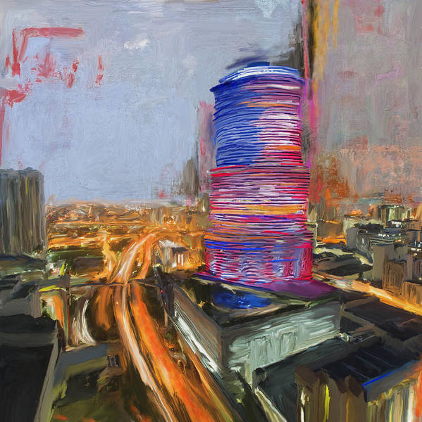 Florida City Painting - Miami Tower 234 1 by Mawra Tahreem