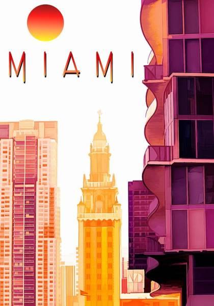 Miami-dade Digital Art - Miami - Travel Poster by Chrystyne Novack