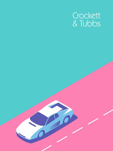 Miami Digital Art - Crockett And Tubbs Retro 80s by Ivan Krpan