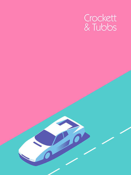 Wall Art - Digital Art - Miami Vice Crockett Tubbs - Magenta by Ivan Krpan