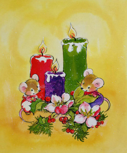 Wax Painting - Mice With Candles by Diane Matthes