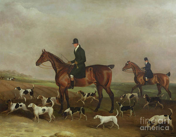 Huntsmen Wall Art - Painting - Michael Beverley With His Whipper In And Harriers by Edwin W Cooper