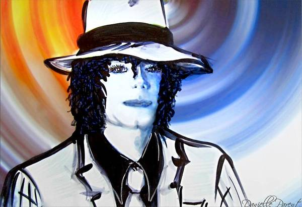 Painting - Michael Jackson White Fedora Alcohol Inks by Danielle  Parent