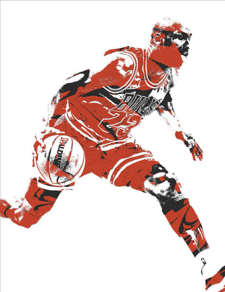 Wall Art - Mixed Media - Michael Jordan Chicago Bulls Pixel Art 10 by Joe Hamilton