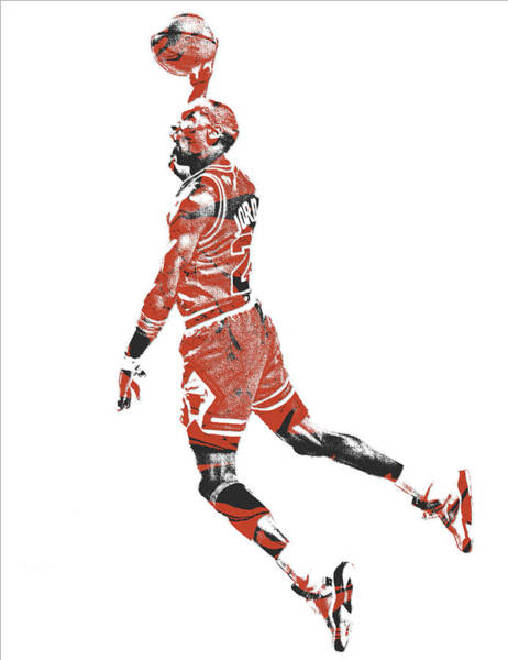 Wall Art - Mixed Media - Michael Jordan Chicago Bulls Pixel Art 11 by Joe Hamilton