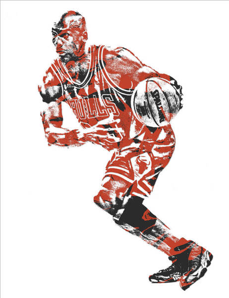 Wall Art - Mixed Media - Michael Jordan Chicago Bulls Pixel Art 12 by Joe Hamilton