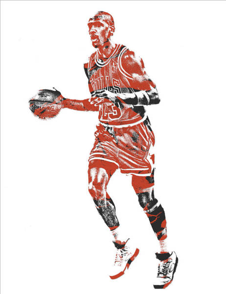 Wall Art - Mixed Media - Michael Jordan Chicago Bulls Pixel Art 14 by Joe Hamilton