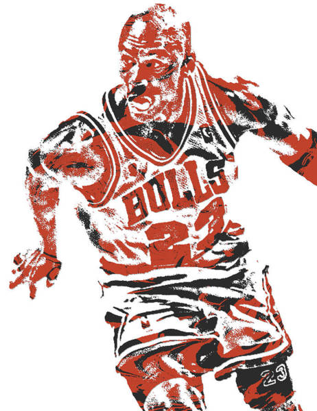 Wall Art - Mixed Media - Michael Jordan Chicago Bulls Pixel Art 15 by Joe Hamilton