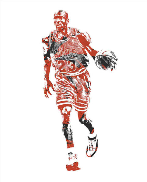 Wall Art - Mixed Media - Michael Jordan Chicago Bulls Pixel Art 30 by Joe Hamilton
