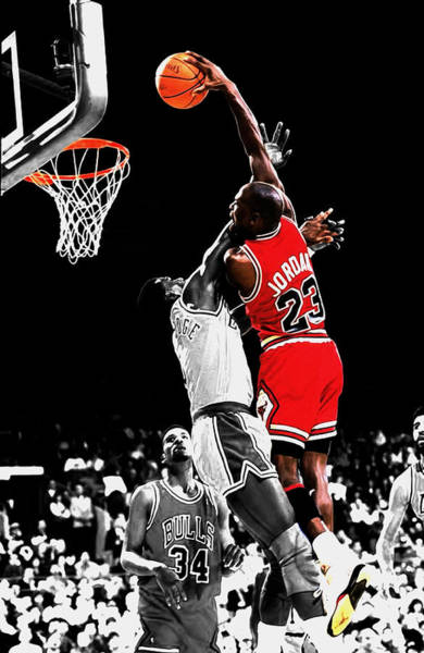 Wall Art - Mixed Media - Michael Jordan Power Slam by Brian Reaves