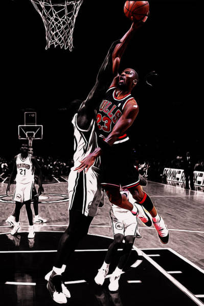 db82b0f7cc0603 Dennis Rodman Wall Art - Mixed Media - Michael Jordan Rises 1a by Brian  Reaves