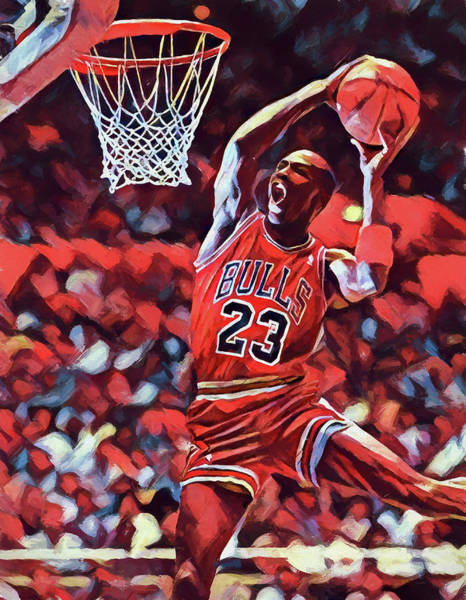 Slamdunk Wall Art - Painting - Michael Jordan Slam Dunk by Dan Sproul