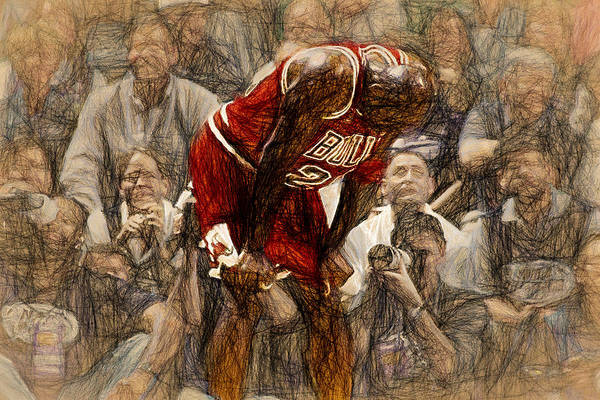 Sneakers Painting - Michael Jordan The Flu Game by John Farr