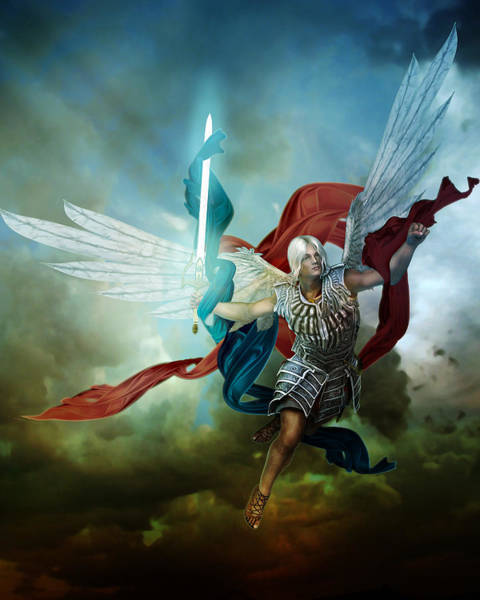 Angelic Digital Art - Michael by Karen Koski