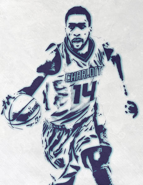 Wall Art - Mixed Media - Michael Kidd-gilchrist Charlotte Hornets Pixel Art by Joe Hamilton