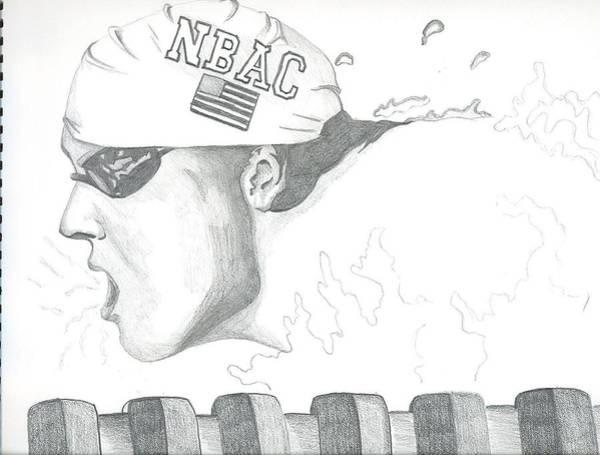 Gold Medal Drawing - Michael Phelps by Nathan Denham II