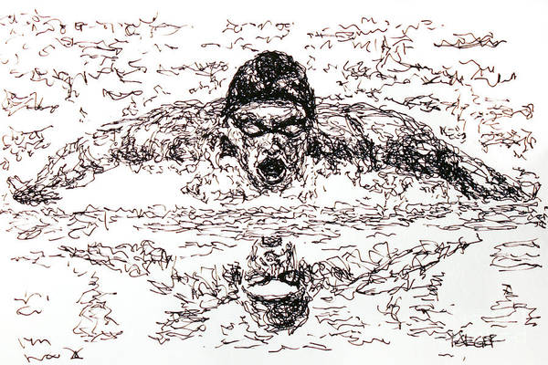 Gold Medal Drawing - Michael Phelps by Robert Yaeger