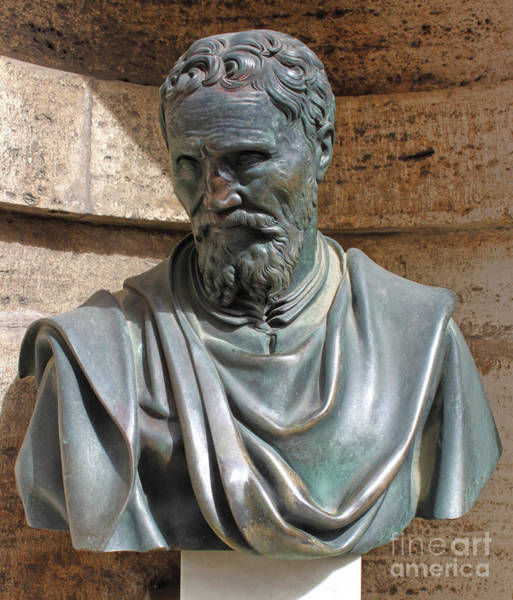 Photograph - Michelangelo Bust At The Vatican In Rome by Gregory Dyer