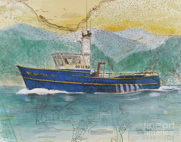 Warrenton Wall Art - Painting - Michelle D Crab Fish Boat Nautical Chart Map Oregon by Cathy Peek