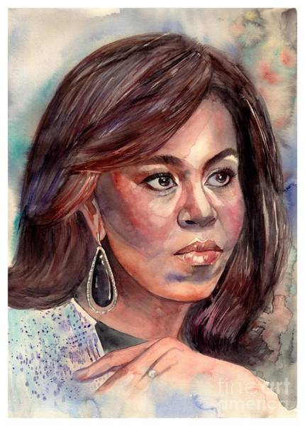 Barack Obama Wall Art - Painting - Michelle Obama Portrait by Suzann Sines