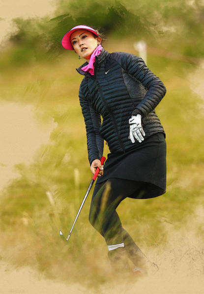 Lpga Digital Art - Michelle Wie Of The United States Hits Her 2nd Shot  by Don Kuing