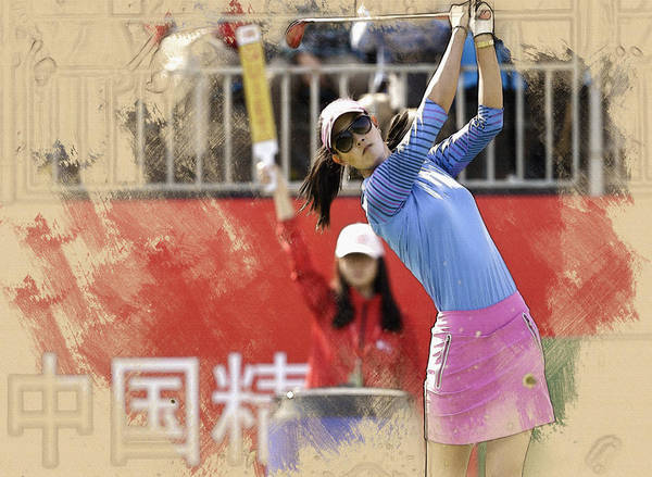 Lpga Digital Art - Michelle Wie Of The United States Tees Off On The First Hole by Don Kuing