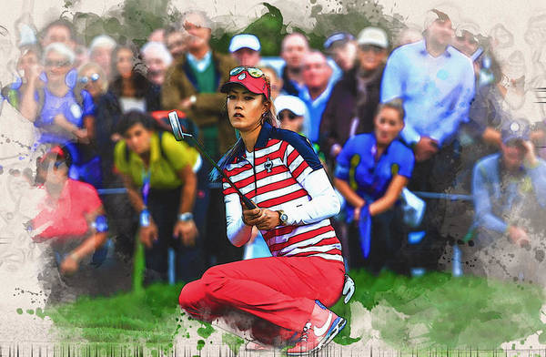 Lpga Digital Art - Michelle Wie - The Morning Foursomes by Don Kuing