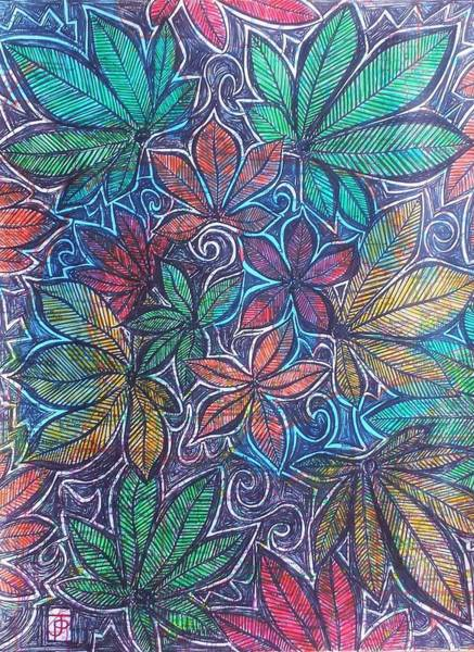 Michigan Drawing - Michigan Autumn Leaves by John Parish