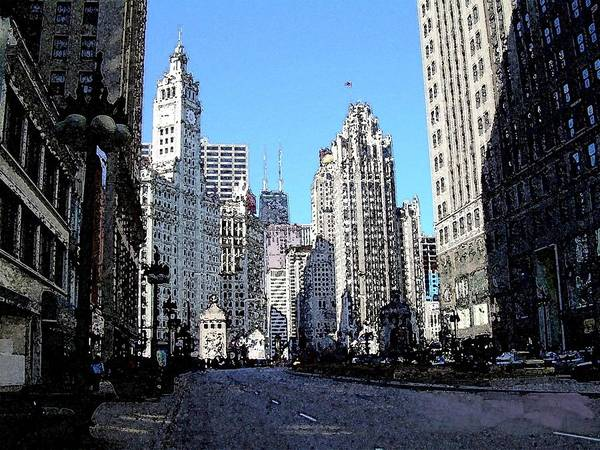 Digital Art - Michigan Ave Wide by Anita Burgermeister