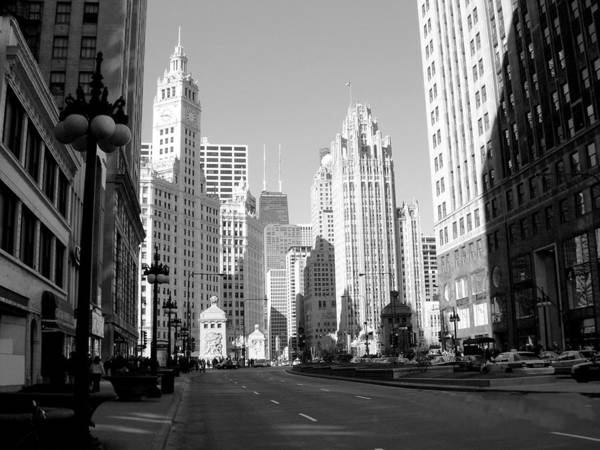Photograph - Michigan Ave Wide B-w by Anita Burgermeister