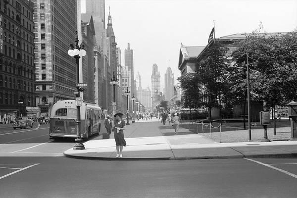 Chicago Tribune Wall Art - Photograph - Michigan Avenue Chicago 1940 by Daniel Hagerman