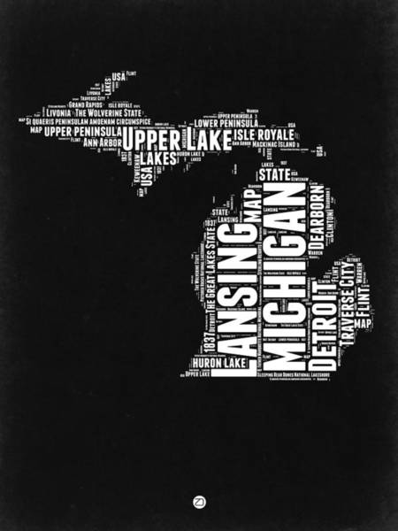 Wall Art - Digital Art - Michigan Black And White Word Cloud Map by Naxart Studio