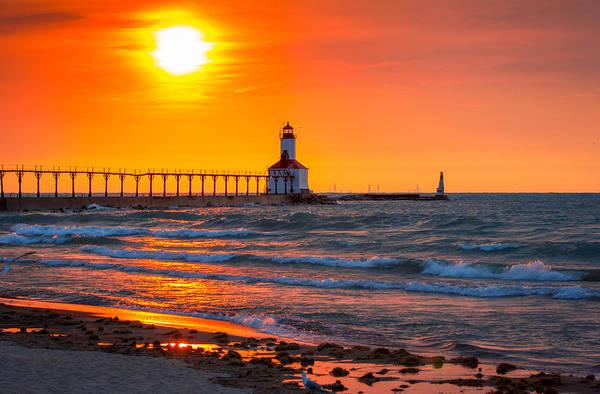 Wall Art - Photograph - Michigan City Sunset by Jackie Novak