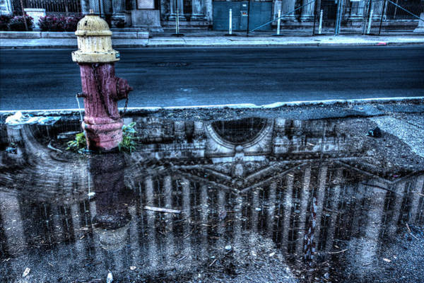 Central Fire Station Photograph - Michigan Grand Central Station Reflection In Fire Hydrant Puddle by Joseph Skalny