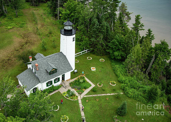Bayfield Wall Art - Photograph - Michigan Island Lightstation Sailing Apostle Islands National Lakeshore Bayfield Wisconsin by Wayne Moran
