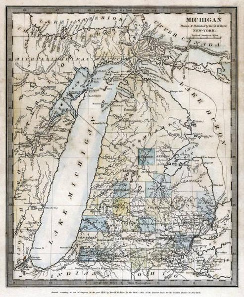 Wall Art - Photograph - Michigan Map Cartographer David Burr  1831 by Daniel Hagerman