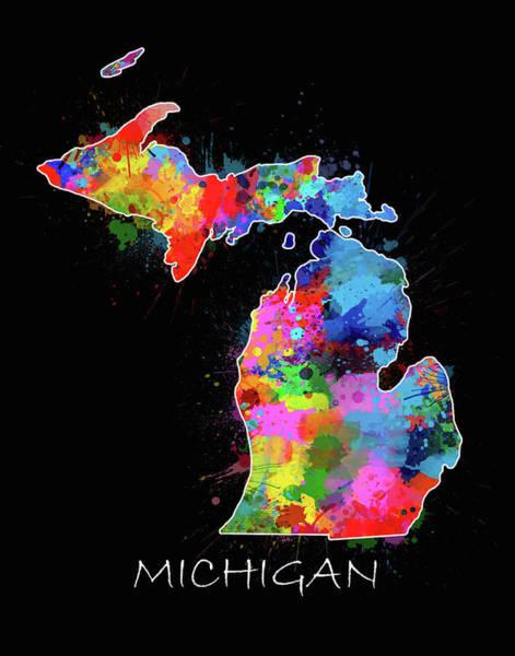 Great Lakes Digital Art - Michigan Map Color Splatter 2 by Bekim Art