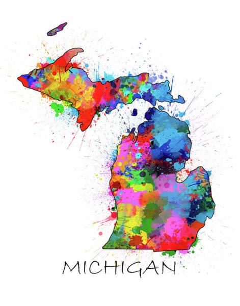 Great Lakes Digital Art - Michigan Map Color Splatter by Bekim Art