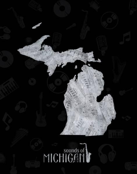 Great Lakes Digital Art - Michigan Map Music Notes 2 by Bekim Art