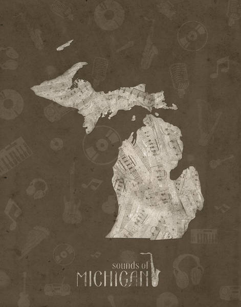 Great Lakes Digital Art - Michigan Map Music Notes 3 by Bekim Art