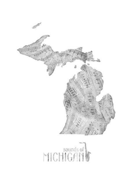 Great Lakes Digital Art - Michigan Map Music Notes by Bekim Art