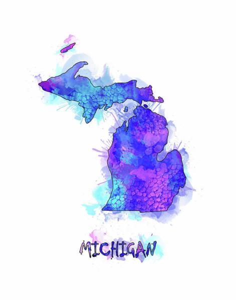 Great Lakes Digital Art - Michigan Map Watercolor 2 by Bekim Art