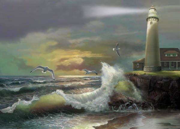 Giclee Painting - Michigan Seul Choix Point Lighthouse With An Angry Sea by Regina Femrite