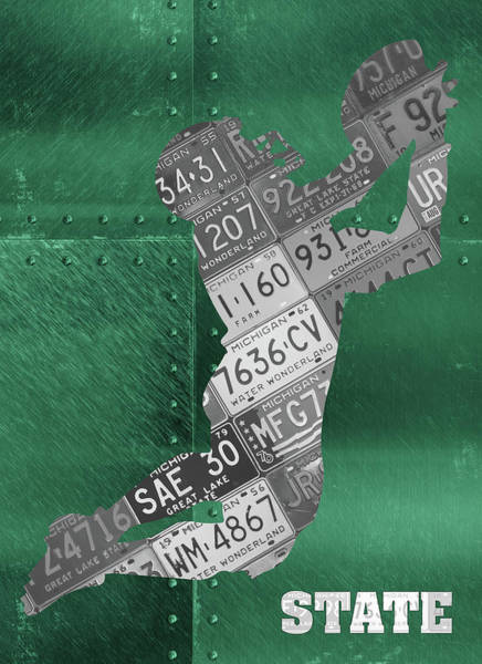 Spartan Wall Art - Mixed Media - Michigan State Spartans Receiver Recycled Michigan License Plate Art by Design Turnpike