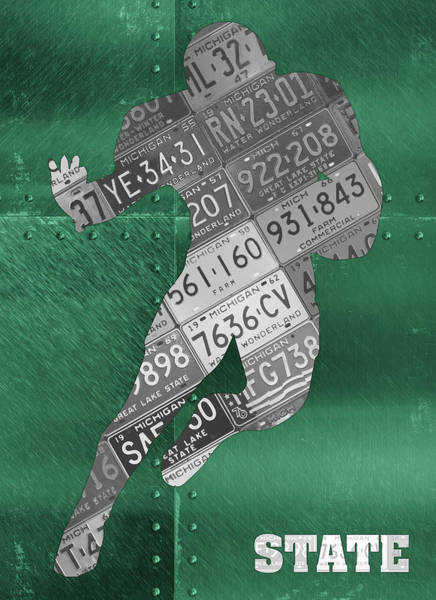 Spartan Wall Art - Mixed Media - Michigan State Spartans Running Back Recycled Michigan License Plate Art by Design Turnpike