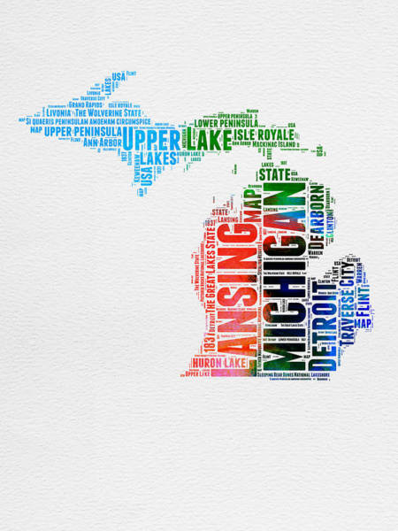 Wall Art - Digital Art - Michigan Watercolor Word Cloud by Naxart Studio